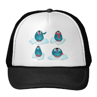 Penguins playing on ice trucker hat