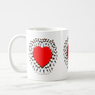 Penguins red heart cup