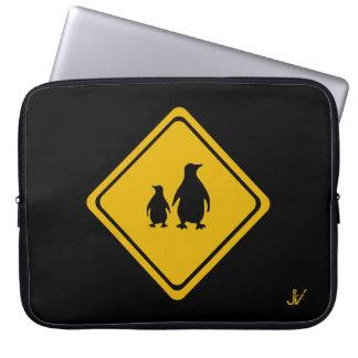 penguins road sign computer sleeve