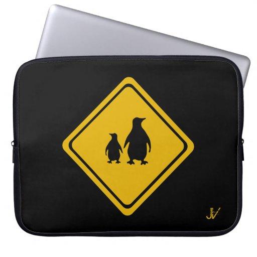 penguins road sign laptop sleeve