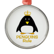 Penguins Rule Golden Crown Metal Ornament