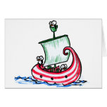 Penguins Sailing in a Christmas Boat Greeting Cards