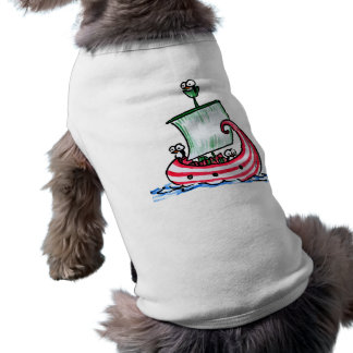 Penguins Sailing in a Christmas Boat Pet Clothing