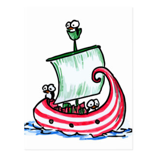 Penguins Sailing in a Christmas Boat Postcard