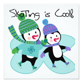 """Penguins Skating is Cool 5.25"""" Square Invitation Card"""