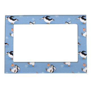 Penguins skating pattern magnetic picture frame