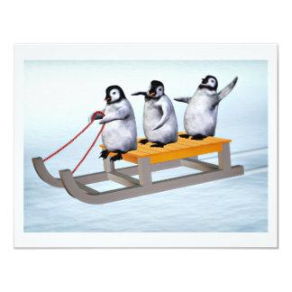 Penguins Sled 4.25x5.5 Paper Invitation Card