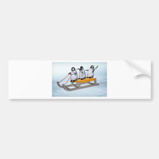 Penguins Sled Bumper Stickers