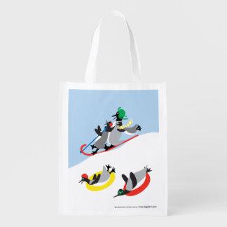 Penguins Sledding Market Totes