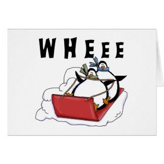 Penguins Sledding Tshirts and Gifts Greeting Card