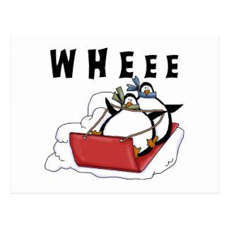 Penguins Sledding Tshirts and Gifts Postcard