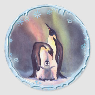 PENGUINS, SNOW & ICE by SHARON SHARPE Classic Round Sticker