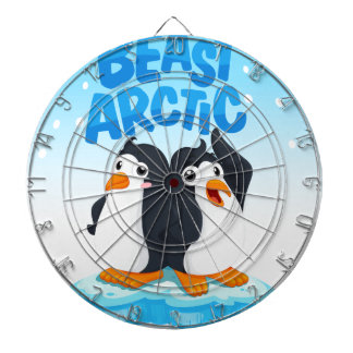 Penguins standing on ice dart board