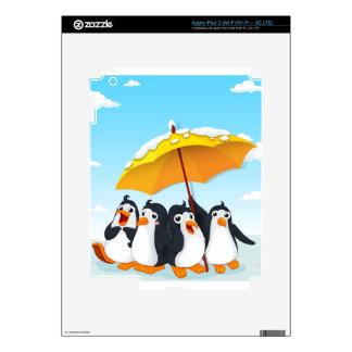 Penguins standing under umbrella iPad 3 skins