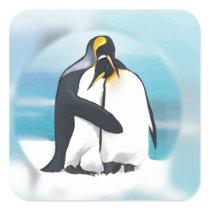Penguins Through The Igloo Square Sticker