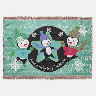 Penguins Typography Merry Christmas Holiday Throw