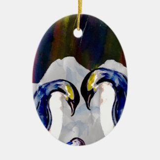 Penguins under the Northern lights Ceramic Ornament