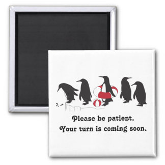 Penguins Waiting in Line Cute Funny 2 Inch Square Magnet