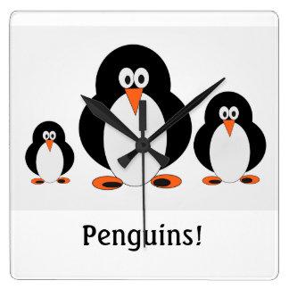 Penguins Wall Clock w/custom text option