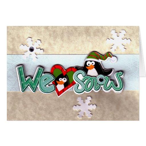 Penguins We Heart Snow Christmas Card