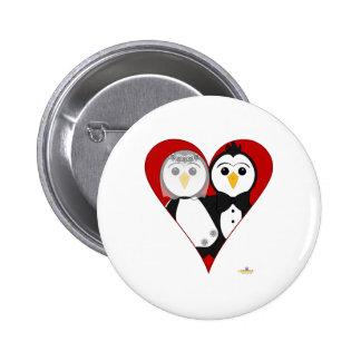 Penguins Wedding Heart Buttons