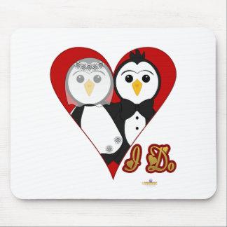 Penguins Wedding Heart I Do Mouse Pads