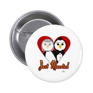 Penguins Wedding Heart Just Married Pinback Buttons