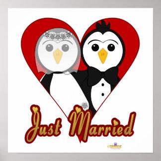 Penguins Wedding Heart Just Married Poster
