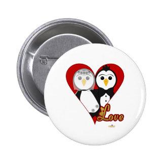 Penguins Wedding Heart Love Pinback Button