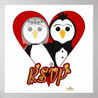 Penguins Wedding Heart RSVP Poster
