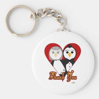 Penguins Wedding Heart Thank You Basic Round Button Keychain