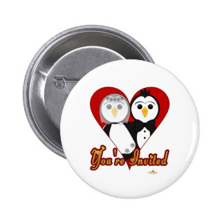 Penguins Wedding Heart You're Invited Pinback Buttons