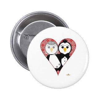 Penguins Wedding Lace Heart Pinback Buttons