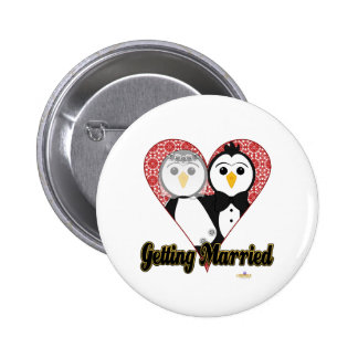 Penguins Wedding Lace Heart Getting Married Buttons