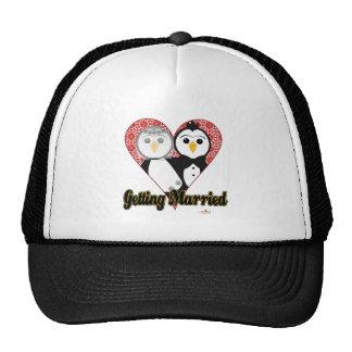 Penguins Wedding Lace Heart Getting Married Trucker Hat