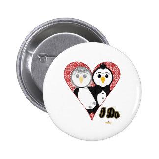 Penguins Wedding Lace Heart I Do Button
