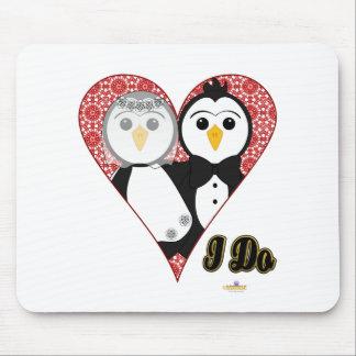 Penguins Wedding Lace Heart I Do Mouse Mats
