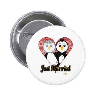Penguins Wedding Lace Heart Just Married Button