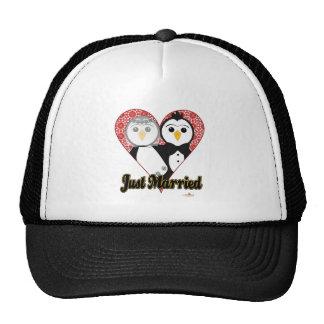 Penguins Wedding Lace Heart Just Married Trucker Hat