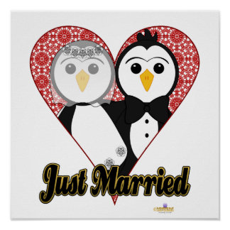 Penguins Wedding Lace Heart Just Married Poster