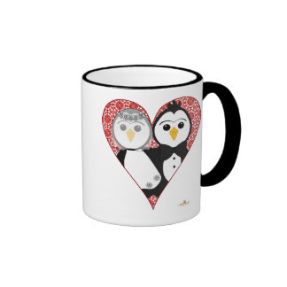 Penguins Wedding Lace Heart Mugs