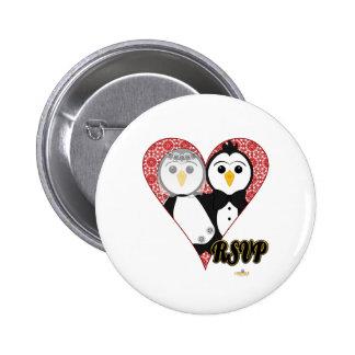 Penguins Wedding Lace Heart RSVP Pinback Button