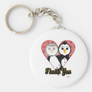 Penguins Wedding Lace Heart Thank You Basic Round Button Keychain