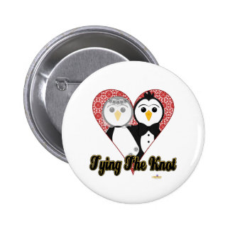 Penguins Wedding Lace Heart Tying The Knot Button
