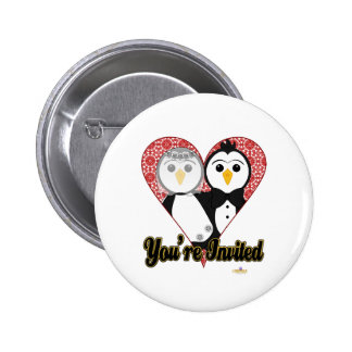 Penguins Wedding Lace Heart You're Invited Pinback Button