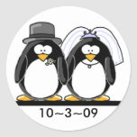 Penguins Wedding Round Stickers