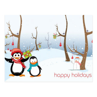 Penguins Winter Scene, Happy Holidays Postcard