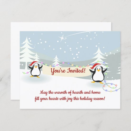 Penguins Winter Scene Holiday Christmas Party  Invitation