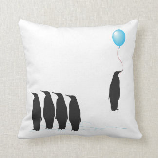 Penguins with balloon cushion pillow