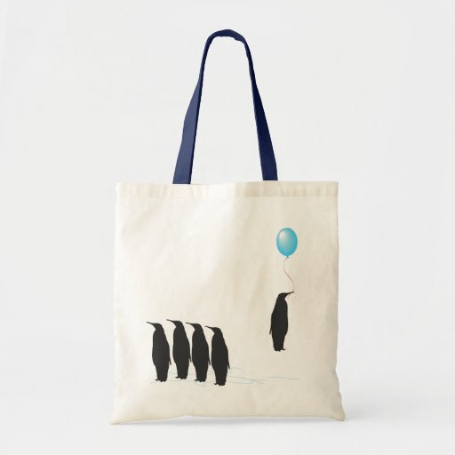 Penguins with balloon tote bag